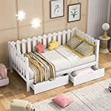 Wood Day Bed Frame Twin, Rustic Style Daybed with Storage Drawers Underneath, Daybed for Kids/Teens,