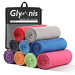 Glymnis microfiber towels sports towel beach towel Many sizes and colors for sports yoga sauna fitness and beach quick-drying absorbent soft (blue 18, 80x40cm)