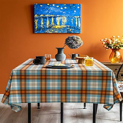 ChengBeautiful Falda De Mesa Impermeable a Cuadros Mantel Mesa de la Cocina Decoración Picnic al Aire Libre (Color : Orange, Size : 100x160cm)