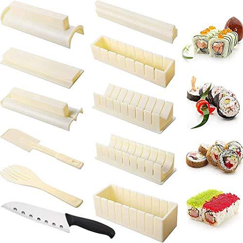 TiKiNi Kit de fabricación de sushi, 11 moldes para hacer sushi, cocina japonesa, Onigiri, kit de fabricación de bento, herramienta multifuncional, equipo de sushi para cocina, regalo para mujeres