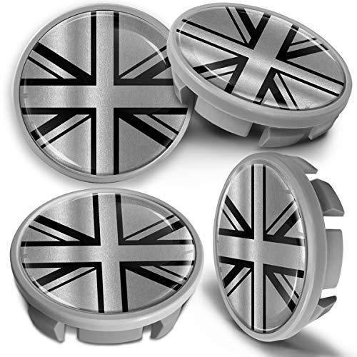 SkinoEu 4 x 65mm Tapas de Rueda de Centro Centrales Llantas Aluminio Tapacubos Compatibles con VW Número de Pieza 3B7601171 / 6U7601171 Gris Plata Bandera del Reino Unido UK CVS 9