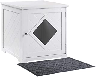 unipaws Cat Litter Box Enclosure with Mat, Privacy Cat Washroom, Litter Box Hidden, Pet Crate with Sturdy Wooden Structure...