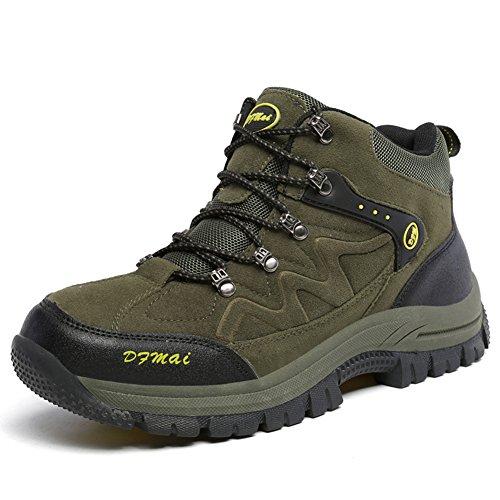 Hombres Caminata y Trekking Botas Alta Top Antickid al Aire Libre Impermeable Invierno montañismo Zapatos,Verde-47