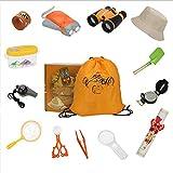 HGYYIO Outdoor Explorer Kit, 19 Piezas Kit Juguetes Exploración, Traiga Linterna, binoculares, brújula, Lupa, niños Aventura Juguetes Educativos