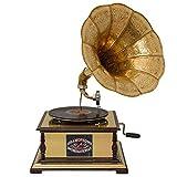 aubaho Nostalgia gramófono gramófono Discos de gramófono Embudo Antiqued (a)