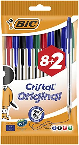 BIC Ballpoint Pens, 'Cristal Original' Assorted Colours Medium Point (1.0mm) Biro Pens, Pack of 10