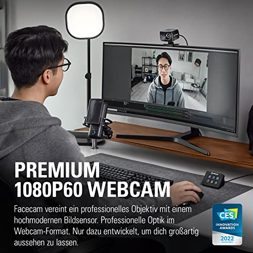 Elgato Facecam - Full-HD-Webcam für echtes 1080p60, Sony®-Sensor, Fixfokus-Glasobjektiv, für Lichtverhältnisse in Innenräumen optimiert, integrierter Speicher, abnehmbares USB-C-Kabel