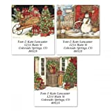 Winterberry Personalized Return Address Labels – Set of 144, Square Self-Adhesive, Flat-Sheet Labels, Christmas Design by Colorful Images (3 Designs)