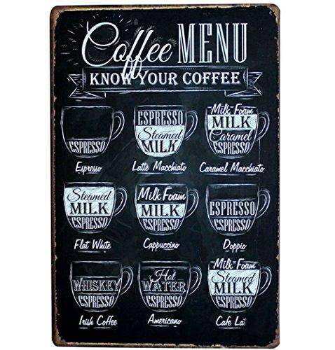 Lumanuby 1x Kaffee Speisekarte Vintage Schild Metall Werbeschild von Tafel Form mit Verschiedene Kaffeearten für Bar/Café, Bar Sprüche Serie Size 20 * 30cm
