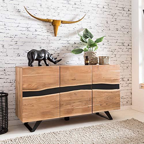 FineBuy Sideboard Sahara 148 x 85 x 43 cm Massiv-Holz Akazie Natur Baumkante Anrichte | Landhaus-Stil Highboard mit 3 Türen | Flur Schrank Kommode