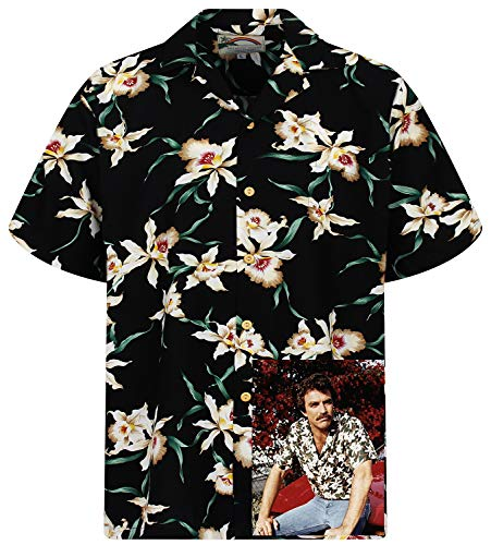 Tom Selleck Original Hawaiihemd, Kurzarm, Star Orchid, Schwarz, XL