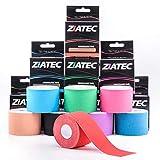 Cinta de Kinesiología ZiATEC Pro | Cinta deportiva elástica e impermeable, cinta de fisio, kinesio-tape (4,5 m x 5 cm), 100% algodón, varios colores, color:1 x negro
