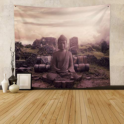 YongFoto 70.9x63 Inches Zen Meditation Tapestry Buddha Pattern Tapestry Wall Art Hanging Nature Landscape Tapestry for Bedroom Dorm Living Room Decor