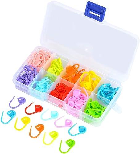 TIMESETL 120pcs Marcadores de Puntadas de Plásticos de Bloqueo Multicolores Marcadores Puntada Colorida (22x10 mm)