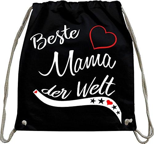 Mister Merchandise Turnbeutel Natur Rucksack Beste Mama der Welt Mutter Mutti Geschenk Muttertag Baby Schwanger Beutel Tasche Schwarz