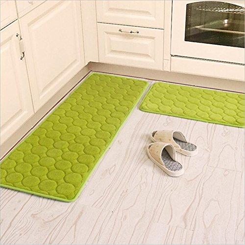 "Kitchen Rugs,CAMAL 2 Pieces Non-Slip Memory Foam Kitchen Mat Rubber Backing Doormat Runner Rug Set (16""x24""+16""x48"", Green)"