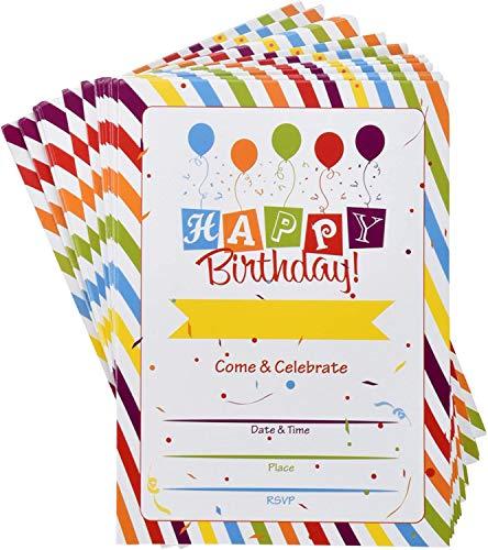 Happy Birthday Party Invitations with Envelopes