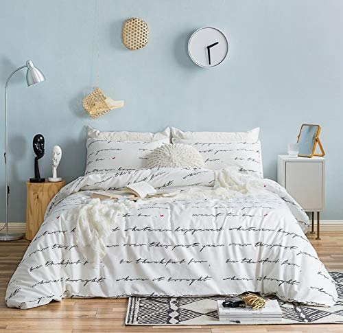 SUSYBAO 3 Piece Duvet Cover Set 100% Natural Cotton Queen Size White and Black Love Letters Bedding Set with Zipper Ties 1 Red Hearts Pattern Duvet Cover 2 Pillowcases Hotel Quality Soft Comfortable