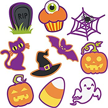 60 Pieces Halloween Cut Out Accents Colorful Mini Halloween Cutouts Paper Decorations Versatile DIY Pumpkins Ghosts Cutouts for Fall Bulletin Board Classroom School Halloween Party