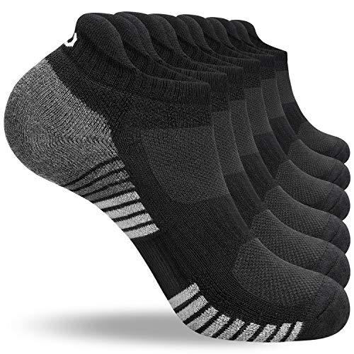 anqier 6 Paar/3 Paar Sneaker Socken Herren 43-46 39-42 35-38 47-50 Baumwolle Sportsocken Damen Gepolsterte Laufsocken Schwarz Weiß Grau Atmungsaktiv Kurz socken
