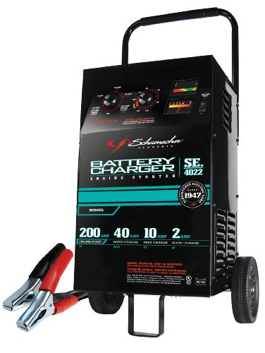 Schumacher SE-4022 2/10/40/200 Amp Manual Wheeled Battery Charger and Tester,Black