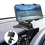 Supporto per Telefono da Auto, Rotazione 360 ° + 180 °, Utilizzato per Parasole e Cruscotto, Adatto per Telefono Cellulare 3-7 Pollici e GPS