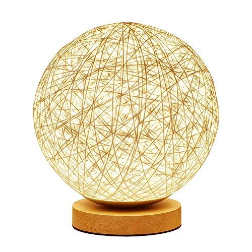SUAVER Lampada da tavolo LED Creativa Rotonda della lampada della canapa Lampada in rattan,Lampada da tavolo USB Lampada da comodino in Legno(Palla)