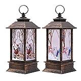 Juego de 2faroles para decoración navideña, luces LED tipo vela, motivos de Papá Noel y muñecos de nieve, adornos de fiesta, ideales como regalo