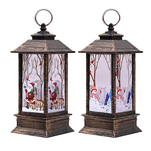 Vendita di decorazioni natalizie, 2PCS Lanterne di Natale con LED Tea light Candele Babbo Natale Pupazzo di neve Decorazione di Natale Luci per Natale Decor Ornamenti Partito Decor Regali