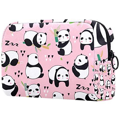Bolsa organizadora de cosméticos para mujer con cremallera de 19 x 8 x 12 cm, diseño de osos panda, poses