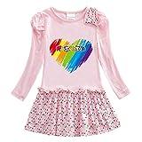 O&K Girl Dress Bambino Manica Lunga del Fumetto Gonna di Cotone Popolare Principessa Dress 3-12 Anni,Rosa,120cm