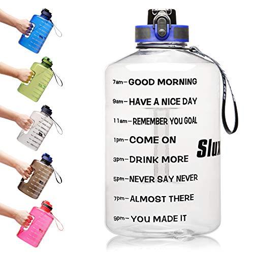 SLUXKE 3,78 L/2,2 Liter motivierende Sport-Trinkflasche mit Zeitmarkierung, Weithalsflasche, BPA-frei, auslaufsicher, Hydratwasserflasche für Fitness-Outdoor-Enthusiasten