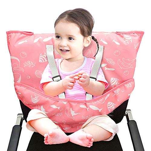 Portable Easy Seat High Chair Cover with Safety Shoulder Harness for Baby Toddler Feeding (Pink Sea)