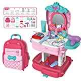 OBLETTER Kids 2 in 1 Beauty Makeup Pretend Play Set Fashion Saloon Hair Styling Set School Bag Toy, Gift for Girls 3-8 Year Old Kids
