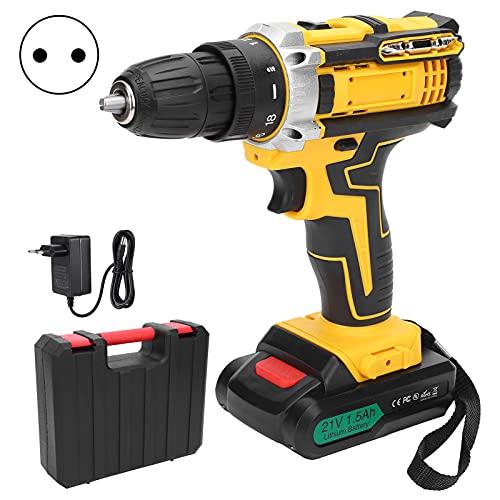 Taladro eléctrico de litio, taladro con empuñadura de pistola, lata de torsión hasta 38 Nm para...