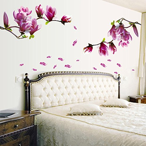 Gaddrt Wall Stickers Huge Magnolia Flowers Removable Self-Adhesive Mural Art Decals Vinyl Home Decoration DIY Living Bedroom Office Decor Wallpaper Kids Room Gift (Kitchen & Home)
