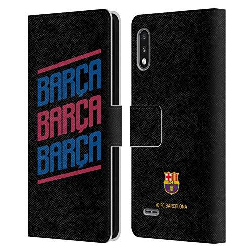 Head Case Designs Licenciado Oficialmente FC Barcelona Triple Forca Barca Carcasa de Cuero Tipo Libro Compatible con LG K22