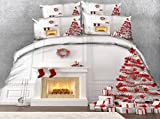 WPHRL Ropa de Cama 3D Imprimiendo Funda nórdica Calcetín Rojo de Navidad Conjunto de 3 Piezas Niño niña Ligero Poliéster Suave Transpirable Viernes Negro de Navidad 220x240cm