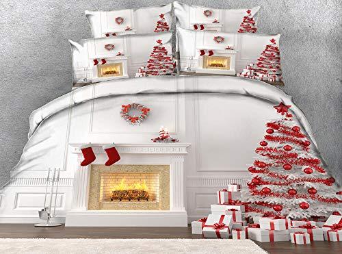 Generic Branded Impreso Funda nordica 220x260cm con 2 Fundas de Almohada 3 Piezas árbol de Navidad 100% Poliéster Microfibra Muy Suave hipoalergénico