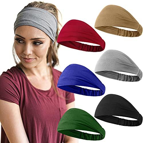 6 Pieces Headbands for Women Elastic Yoga African Head Wraps Stretchy Sweat Boho Hair Band for Girls Workout Running (Black, Dark Blue, Light Grey, Khaki, Atrovirens, Wine Red)