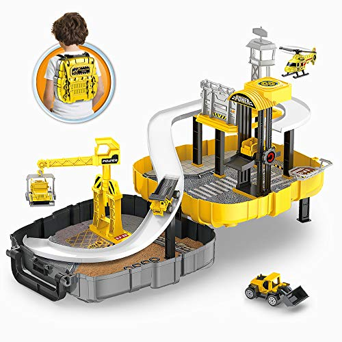 BeebeeRun Construction Vehicles for Kid - Engineering Construction Truck Parking Lot with Race Track,Helicopter,Bulldozer, Mixer Toy for 3 4 5 Year Old Boys, Toddlers, Kids,Children