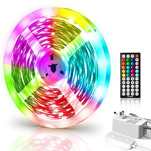 ECOLOR LED Strip Lights,16.4ft Color Changing Lights, 5050 RGB LED Lights with 44 Keys IR Remote, Multiple Colors and DIY Modes, LED String Lights for Bedroom, Living Room, Kitchen,Home (16.4ft)