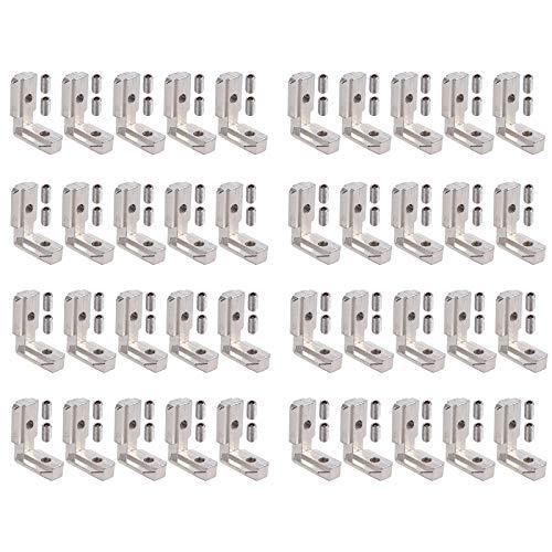 Justech 40 x T Slot T-Nut 90° L-Form Zinklegierung Profil EU-4040 Nut 8 Zinklegierung Klammern Inneneckverbinder Innenverbindung Winkelwinkel Eckverbinder mit Schrauben