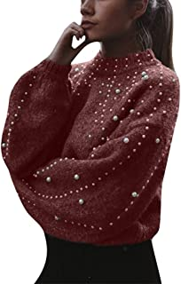 Ladies Solid Color High Neck Long Sleeve Pearl Beaded Pullover Knitwear Casual Short Knit Sweater