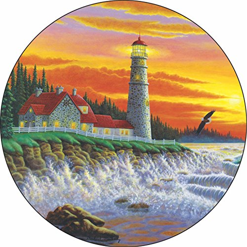 TIRE COVER CENTRAL Lighthouse #5 The Guiding Light Spare Tire Cover for 255/75R17 fits Camper, Jeep, RV, Scamp, Trailer(Drop Down Size menu