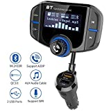Transmetteur FM Bluetooth, Kit Voiture Main-libre Sans Fil Adaptateur Radio, QC3.0 Chargeur Rapid Voiture Double USB Ports, Grand écran d'affichage, Support Fonction A2DP, Port Audio 3.5mm, Carte TF