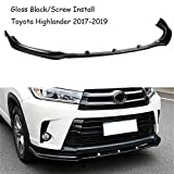 MUTUSAISI Bright Black Front Bumper 3-Stage Lip Spoiler Fit For Compatible with Toyota Highlander 2017-2019