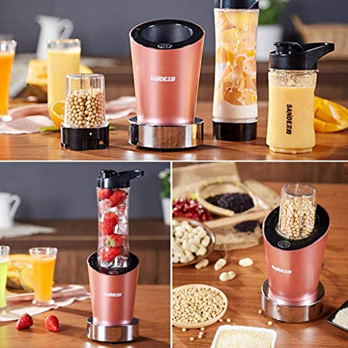 LIUCHANG Juicer, Juicer multifunción doméstico, Mini Blender, Máquina de molienda, Doble Cuchillo, Tres Tazas, Fácil de Transportar, Pink S (Color: Gold) liuchang20 (Color : Pink)