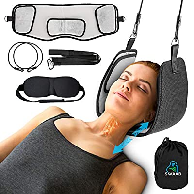 SWB Neck Hammock, Portable Cervical Traction & Stretcher Device for Neck Pain Relief, Headache, Relaxation & Physical Therapy. Durable & Soft Neck Sling, Sturdy Head Hammock with Eye Mask & Carry Bag