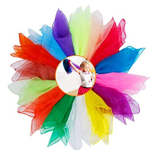 XCOZU 15 Stück Chiffontücher, Jongliertücher Bunte Tücher zum Tanzen Kindergarten, Tücher Kinder Spielen Tücher Bunt Seidentücher Baby Rhythmiktücher Gymnastiktücher Tülltücher 60x60cm (15 Farben)